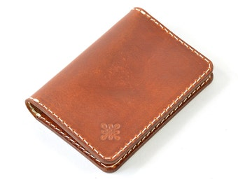Handmade & Hand Dyed Vegetable Tanned Leather Bi Fold Card  Wallet Handmade