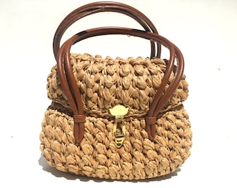 Straw Handbag Brown Handles Made in Italy Exclusively For Jana