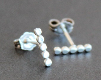 Silver Pebble Bar Earring - Beaded Post /Stud Earrings - 10x2mm - Small Size - Recycled Sterling Silver