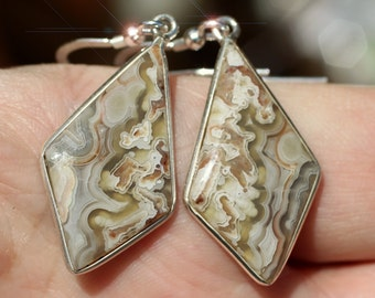 Nature's Tapestry - Beautiful Natural Crazy Lace Agate Sterling Silver Earrings
