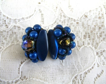 Vintage Cluster Earrings ~ Clip On ~ Royal Blue Plastic & Glass Beads