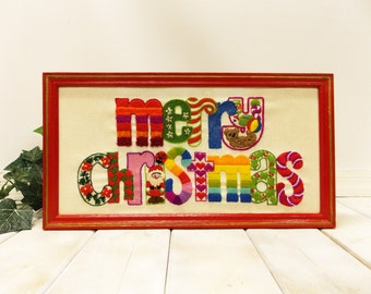 Vintage Framed Crewel Embroidery---  Hand Stitched Holiday Greeting--- Teddy Bear and Santa Claus-