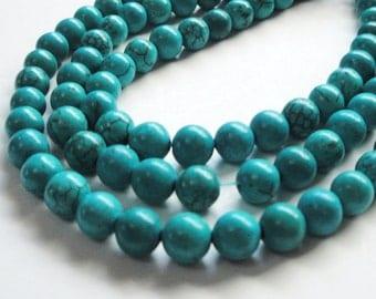 "Turquoise Round Beads - Blue Turquoise Howlite - Gemstone Round Ball - Dark Matrix - 6mm - 16"" Strand - DIY Jewelry Projects"