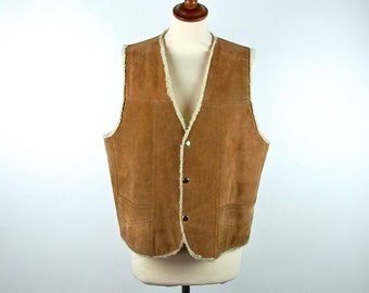Suede Leather Vest with Faux Shearling