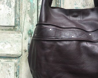 Handmade Dark Chocolate Brown Italian Leather Hobo