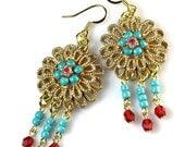 Upcycled Turquoise  Boho Earrings, Repurposed Vintage Jewelry,  Tribal