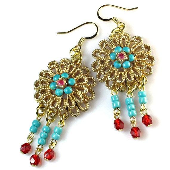 Upcycled Turquoise  Boho Earrings, Repurposed Vintage Jewelry,  Tribal Earrings