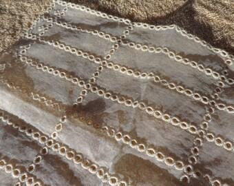 Delicate lacy Pale Beige Vintage handkerchief
