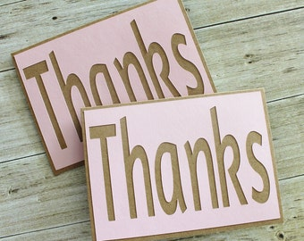 SALE  Thanks - Thank You - Any Occasion- Just Because- Homemade Card - Set of 2 - Lt Pink