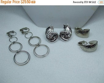 ON SALE 20% OFF Vintage Avon Set of Three Unique Pairs of  Clip On Earrings-Hoop, Dangle,Silver