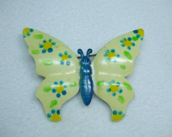 Vintage butterfly brooch Multi layer hand painted enamel-Signed Germany