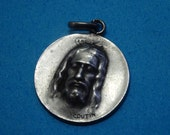 antique STERLING SILVER medal face of JESUS // signed coutin