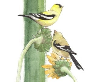 "American Goldfinch Pair - Original 8"" x 10"" Painting"