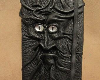 Grichels leather deluxe medium notebook/sketchbook - black with custom silver glitter slit pupil eyes