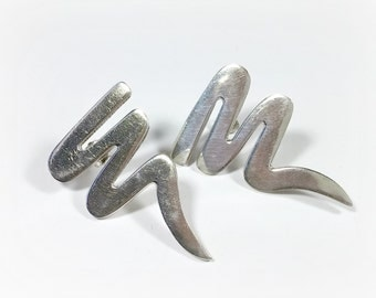 Vintage Taxco Mexico 925 Earrings Modernist Sterling Silver Swirly Whoopity-doos Not Sure How Else To Describe 'Em