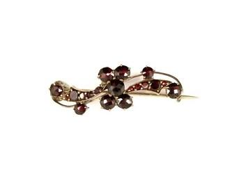 Antique Bohemian garnet brooch || ГРАНАТ