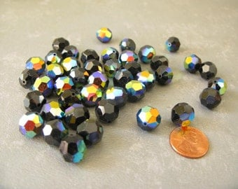 Faceted glass Iridescent beads, black blue purple, round, glass, 9mm