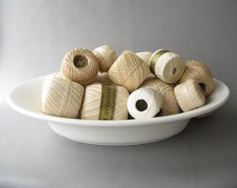 Vintage Cotton Crochet Thread, Group, Lot,  Ivory, white, cream mix