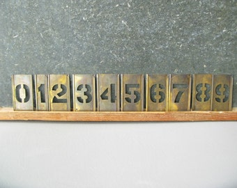 Vintage Brass Number Stencils, art supply, home decor, interlocking