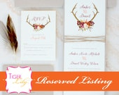 Reserved Listing for Marsala Antler Wedding Invitation Set Deposit for Ashley A