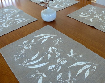 Linen Placemats Screen Printed Linen Place Mats Floral Placemats Linen Table Mats White&Natural Australian Wildflowers (set of 4)