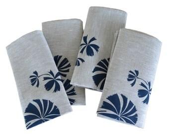 Linen Napkins Screen Printed Linen Napkins Hand Printed Linen Napkins Navy&Natural Australian Fan Palm (set of 4)