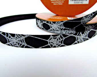Black Ribbon, Spider Web Ribbon, ONE Spool Trim, Halloween Ribbon, 3 eights Inch Wide, Gothic, Black and Silver, 10 Yards, Edging, Bridal Ri