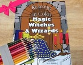 Relaxing in Color Magic, Witches, and Wizards Coloring Book for Adults Big Kid SET with Pencils