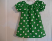 Peasant dress girls green  white dots flutter sleeves or elastic sleeves choice of sleeve color available infant thru 8 years