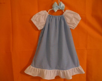 Dorothy costume dress and satin hairbow wizard of oz inspired infant thru size 6 years