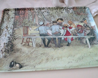 Carl Larsson Breakfast Under the Big Birch Melamine Tray. Made in Italy
