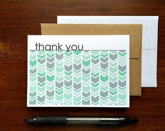 Chevron Thank You Notes - Mint Thank You Cards, Chevron Herringbone Geometric Stationery Set, Bright Aqua Mint Grey White Thank You Card Set