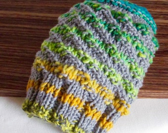 Sale ** Hat Hand Knit Beanie Grey with Stripes