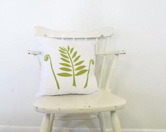 botanical pillow - botanical print throw pillow - white pillow - fern - green - cushion- minimalist decor