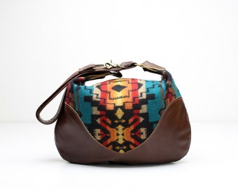 Indian Blanket Bag, Brown Leather Hobo, Leather Cross Body, Leather Purse, Tribal Bag, Wool and Leather Bag, Navajo Style Bag, Hobo Bag