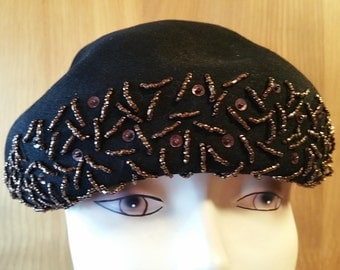 BLACK FELT HAT with Copper Bead Embellishment, 1950's,  Beret Style, Charles F. Berg Department Store-Portland, Oregon, Vintage Ladies Hat