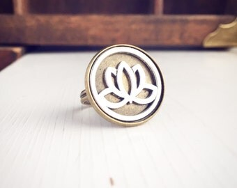 Lotus Flower Ring / Adjustable Two Tone Yoga Yogi Lover Gift Hippie Boho Bohemian Free Spirit Wedding Bridesmaids Bridal Party Retreat