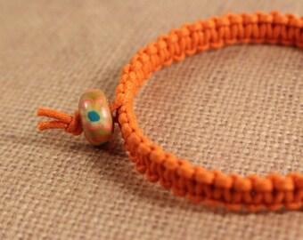 Orange  Bangle Macrame Beaded Bracelet