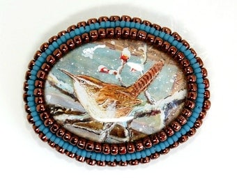 Carolina Wren copper and blue Bead Embroidered Brooch