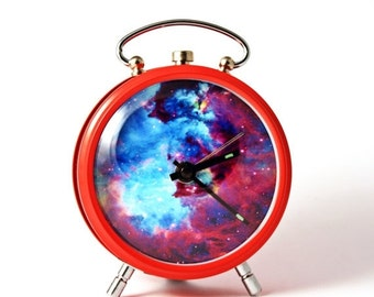 25% SALE OFF Nebula alarm clock Nebula Hubble Space red alarm clock
