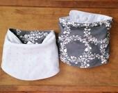 Grey Gauze Scarf Bib, Nano Charcoal Gray Pearlescent Ivory Floral Garland,  Silver Triangles, Reversible Bandanna Bib, Modern Baby Bib