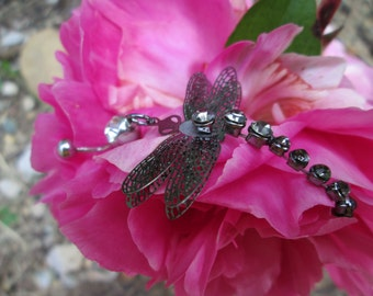 dragonfly belly button ring body jewelry with rhinestones