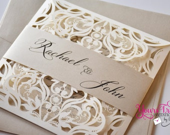 Ivory and Champagne or Gold Square Laser Cut Wedding Invitation Suite Custom in your colors