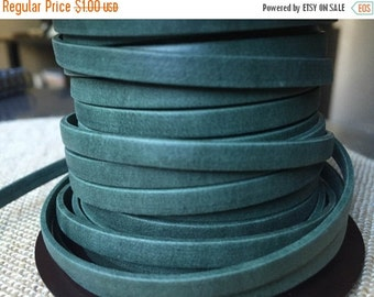 ON SALE 5mm Forest Green Flat Leather -- by the foot