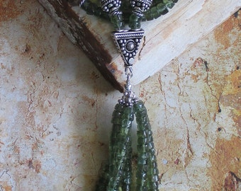 Andalusite Apatite Sterling Necklace Tassel