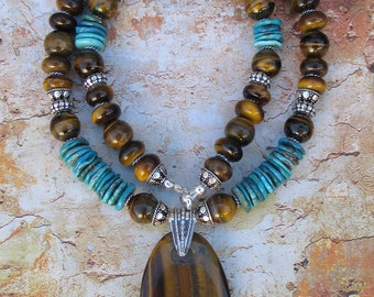 Tiger Turquoise -- Tigers Eye Turquoise Necklace Sterling genuine gemstones