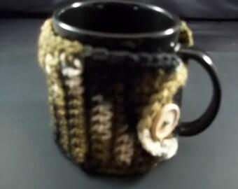 Mug Cozy/Mug Hug-Crochet-Brown Camo