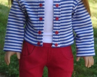 Red Capris, Striped Knit Jacket and Tank Top For American Girl or Similar 18-Inch Dolls