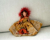 Nancy Ann Storybook Doll, For December Just a Dear #198, Vintage 1940s, Gold Dress with Lace & Berries, Red Felt Feather Bonnet
