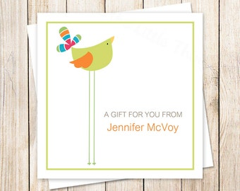 personalized green bird tags . bird gift tags . favor tags . stickers . PRINTABLE . enclosure cards . whimsical birdy tags . YOU PRINT